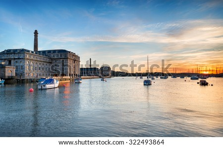 Sunset at the Royal William Yard at Stonehouse in Plymouth - stock photo