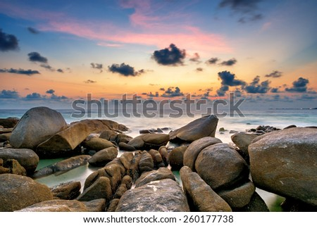 Sunset at the sea,Larn hin khao , Rayong,Thailand - stock photo