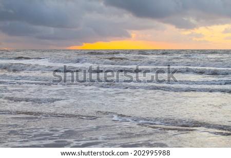 Sunset at the seashore - stock photo