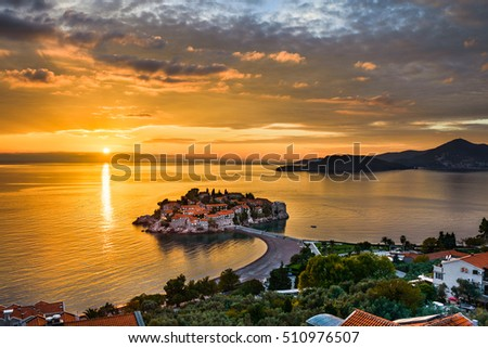 Sunset at the Sveti Stefan island in the Adriatic Sea, Montenegro