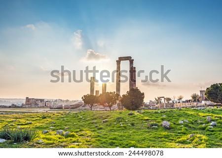 Sunset at the Temple of Hercules in Amman Citadel, Jordan. Amman Citadel is known in Arabic as the Jabal al-Qal'a.  - stock photo