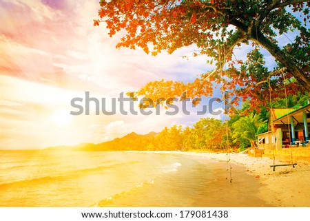 sunset at the tropical island - stock photo