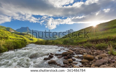 Sunset at the Tugela River - stock photo