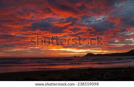 Sunset at Tolaga Bay, New Zealand - stock photo