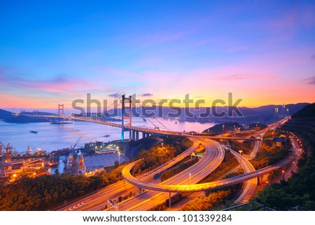 Sunset at Tsing Ma Bridge - stock photo