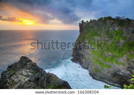 Sunset at Uluwatu Temple in Bali, Indonesia