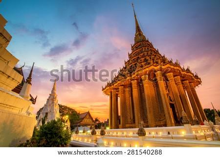 sunset at wat phraphutthabat temple , beautiful temple in Thailand - stock photo