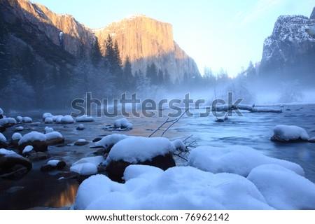 Sunset at Yosemite - stock photo