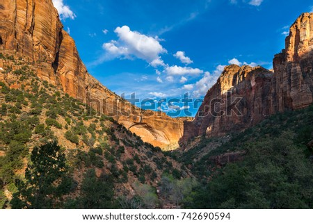 Sunset at Zion National Park, Canyon Overlook trail, Utah, USA