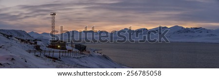 Sunset - Barentsburg, Russian village on Spitsbergen - stock photo