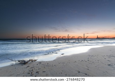 sunset beach - stock photo