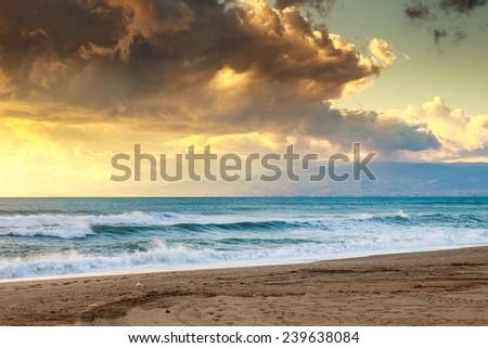 Sunset beach in natural park the  Gabo de Gata, Almeria, Spain - stock photo