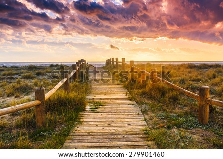 Sunset beach near Almeria. Cabo de Gata Nijar Natural Park, Almer���­a. Spain. Andalusia - stock photo