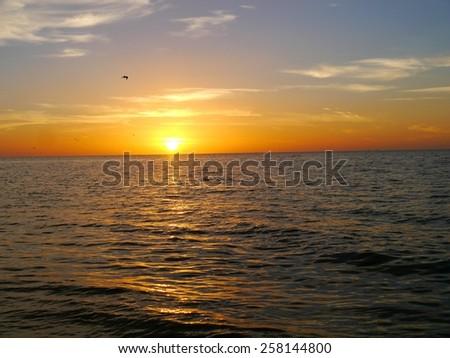 sunset beach ocean panorama Holidays mexico - stock photo