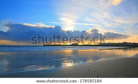 sunset beach Porthcawl - stock photo