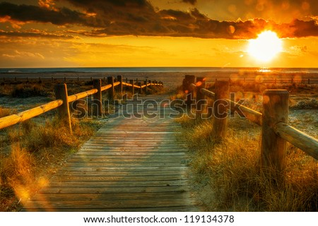 Sunset beach-This photo made by hdr technic - stock photo