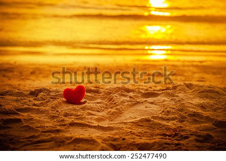 sunset beach under warm light. abstract background love summer on the beach. - stock photo