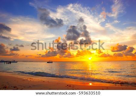 Sunset Beach With Beautiful Sky Landscape Travel Tourism Vacation Concept Background Mexico