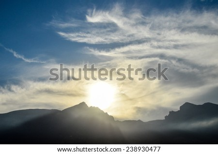 Sunset Behind Guimar Mountains in Tenerife Canary Island