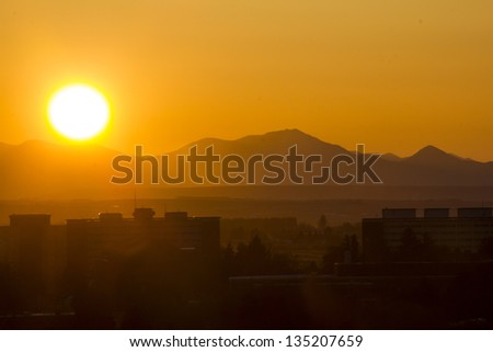 Sunset behind Mountains