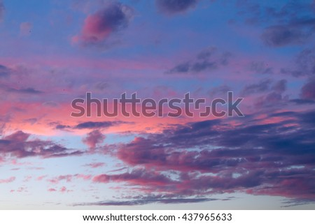 Sunset. blue sky and clouds