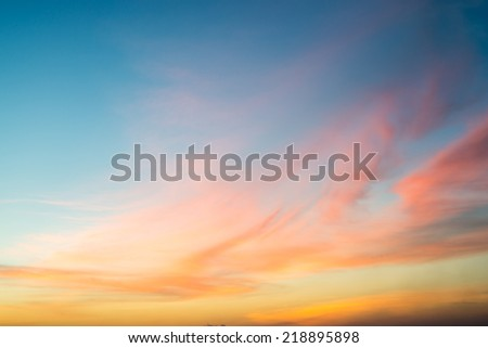 Sunset blue sky and clouds backgrounds - stock photo