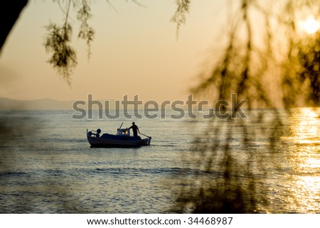 Sunset  boat at sea and tree