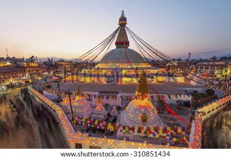 Sunset Boudhanath stupa and New Year Festival In Kathmandu Nepal - stock photo