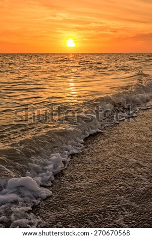 Sunset Bowman Beach Sanibel Island Florida  - stock photo