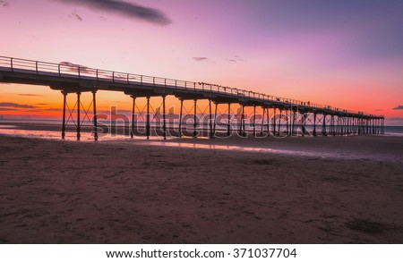 Sunset bridge  at Saltburn by the Sea