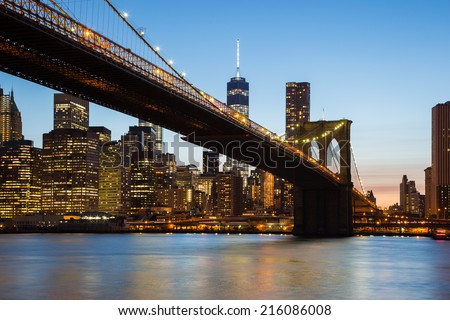 Sunset Brooklyn Bridge, New York, USA - stock photo