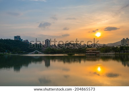 sunset by the lake in Taipei, Taiwan
