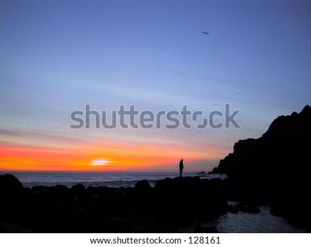 Sunset, California Coast - stock photo