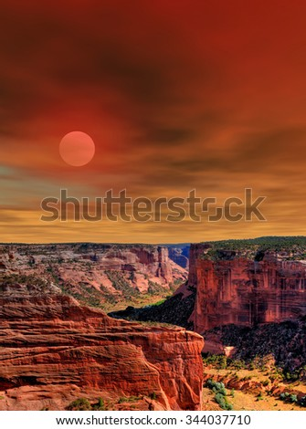 Sunset Canyon de Chelly Navajo indian reservation northern Arizona - stock photo