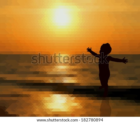 Sunset child with open arms. Raster