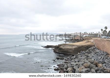 Sunset Cliffs at Point Loma near San Diego, California - stock photo