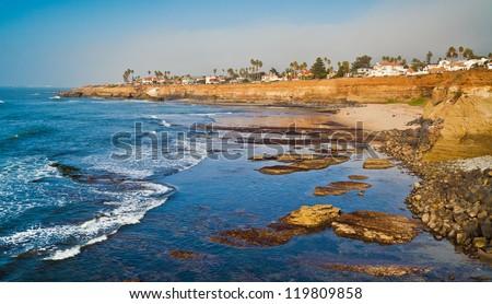 Sunset Cliffs Beach Coastline in Sunny San Diego, California - stock photo