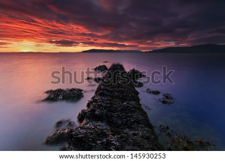Sunset close to the lighthouse Gr�³ta in Reykjavik / South Iceland