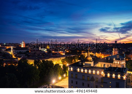 Sunset cloudy sky over Vilnius, Lithuania. Historical buildings