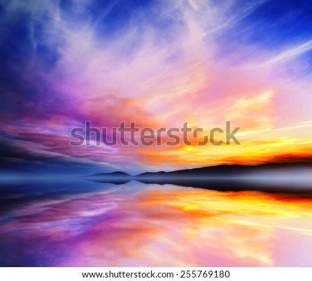 Sunset Colorful Dramatic Landscape.Mountains and Sky Water Reflection - stock photo