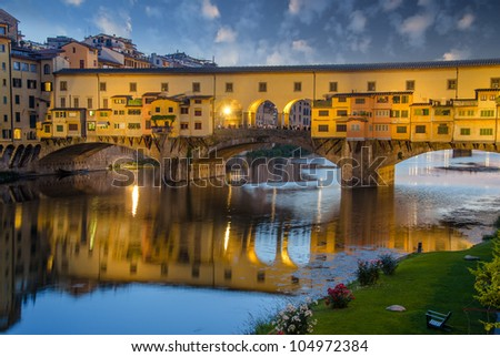 Sunset colors in Florence, Ponte Vecchio - stock photo
