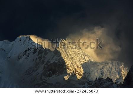 Sunset colors in Himalaya, Nepal - stock photo