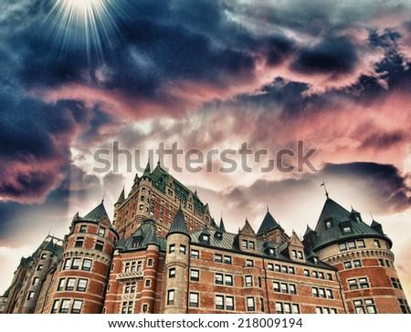 Sunset colors over Chateau de Frontenac - Quebec. - stock photo