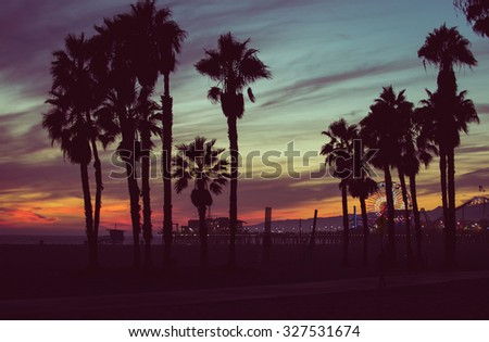 Sunset colors with palms silhouettes in Santa monica, Los angeles. concept about travels - stock photo