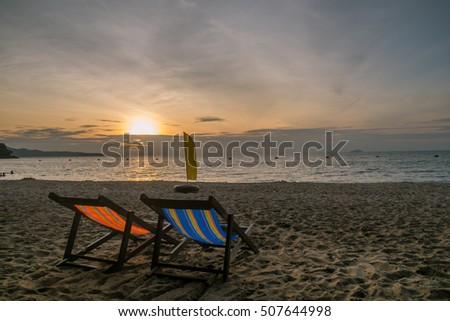 Sunset Concept, Two Beach Chairs at Sunset