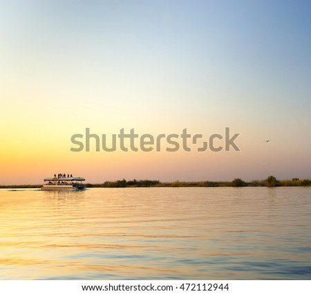 Sunset cruise on the Chobe River, Botswana, Africa