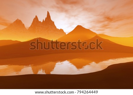Sunset, 3D rendering, a beautiful  landscape, mountains and rocks and reflection on the river.