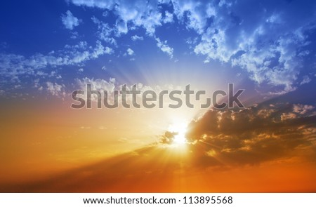 Sunset dramatic sky clouds in La Palma of Canary Islands - stock photo