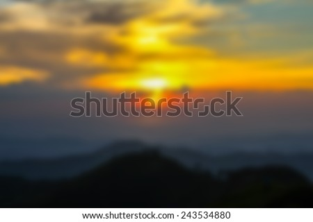sunset evening blur on hill in thailand abstract background - stock photo