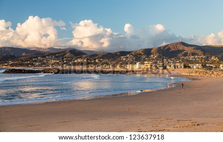 Sunset evening in Ventura with beach framing town - stock photo